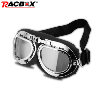 Gogle motocyklowe WWII Vintage Retro gogle uniwersalne ze srebrnymi krawędziami Pilot Biker okulary rowerowe ATV UTV Racer pitbike okulary tanie i dobre opinie Jeden rozmiar Unisex MULTI 200004627