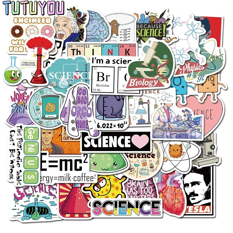 PC951 50 Pcs/set Nikola Tesla Stickers Chemistry Lab Laptop Fridge Phone Skateboard Suitcase Waterproof Sticker