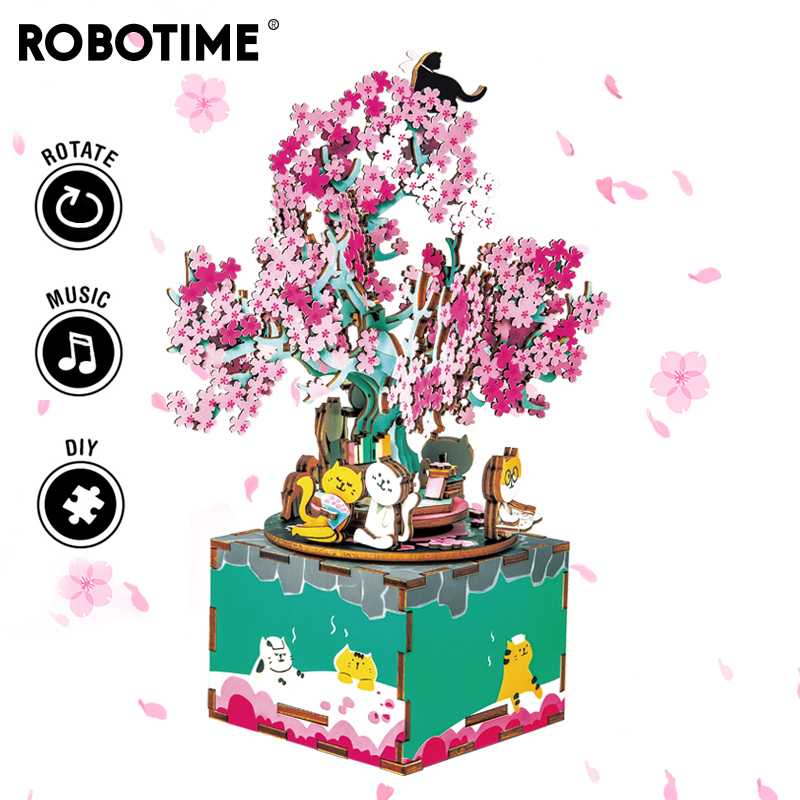 Robotime 148pcs Rotatable DIY 3D Cherry Tree Cat Wooden Puzzle Game Assembly Music Box Toy Gift for Children Kids Adult AM409(China)