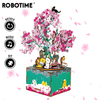 Robotime 148pcs Rotatable DIY 3D Cherry Tree Cat Wooden Puzzle Game Assembly Music Box Toy Gift for Children Kids Adult AM409