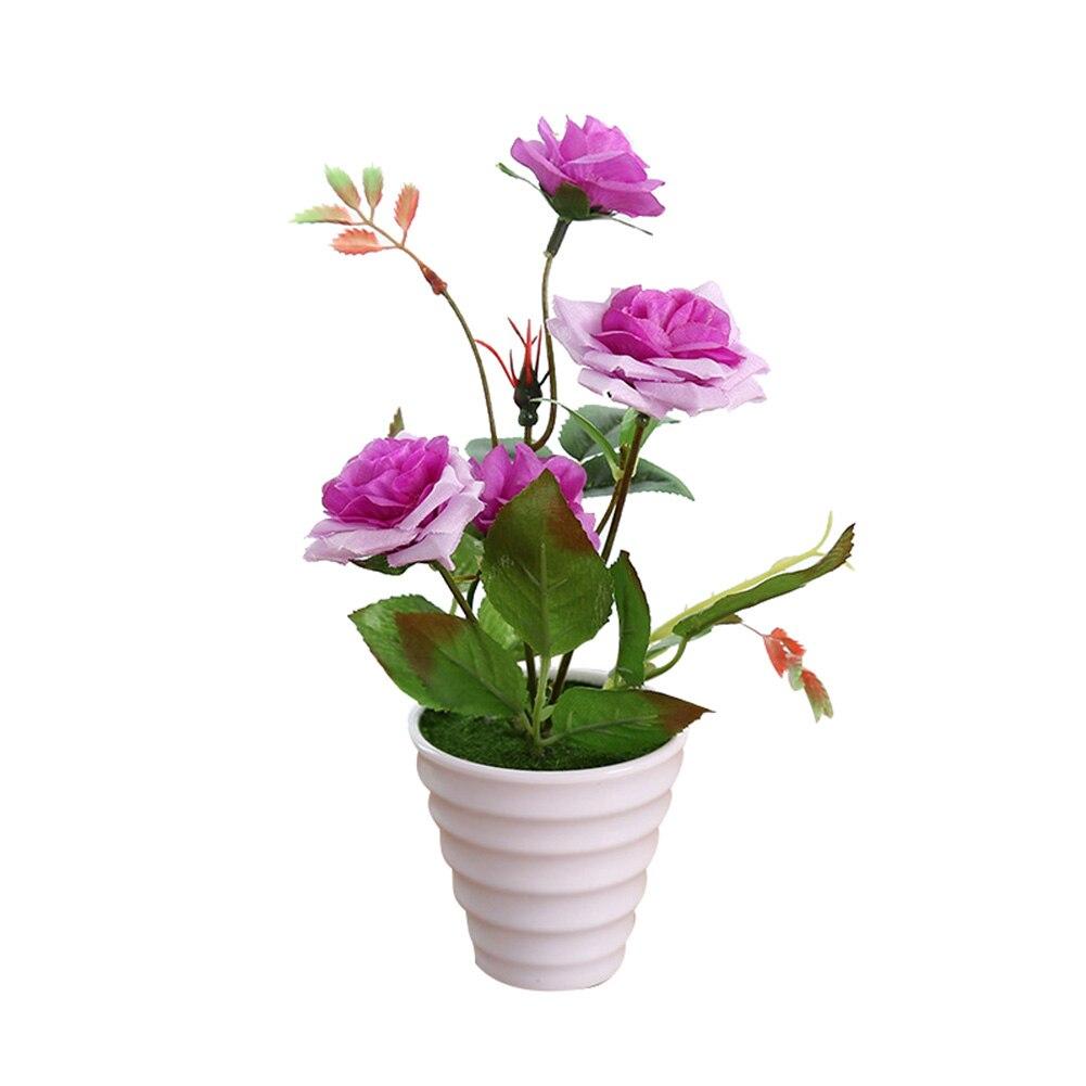 Пластиковые искусственные цветы с розами искусственный бонсаи цветы поддельные цветы вечерние Свадебные украшения Аксессуары для ванной комнаты - Цвет: Фиолетовый