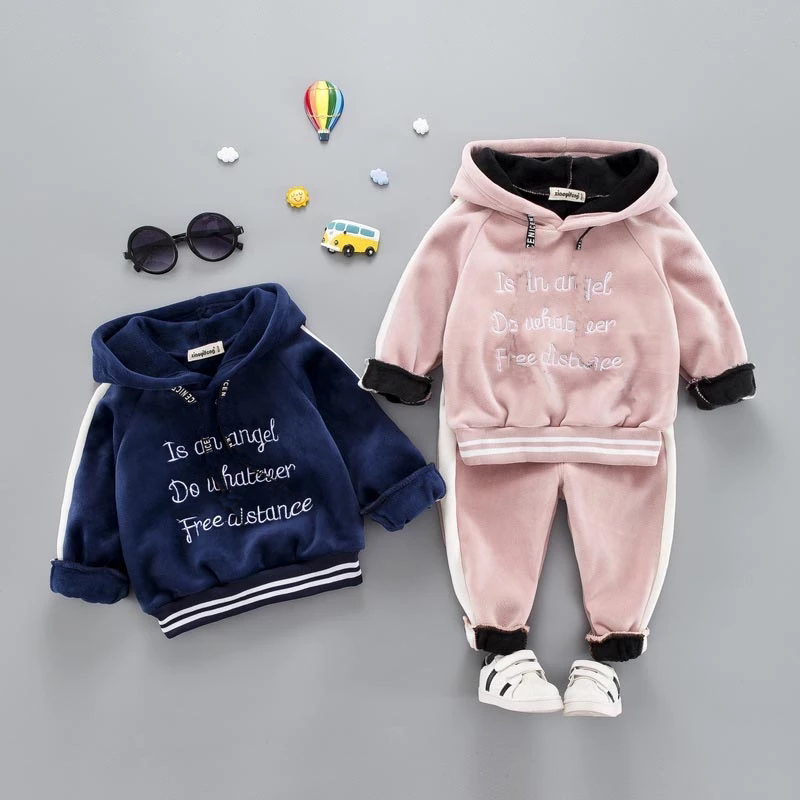 Casual Baby Girl Boy Warm Clothing Set For Toddler Kids Suit Letter Hooded Velvet Autumn Spring Children Outfit 1 2 3 4 5 Years 1