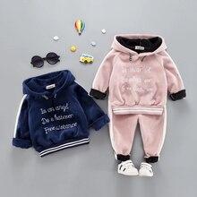 Rahat bebek kız erkek sıcak giyim seti yürümeye başlayan çocuklar için Suit mektup kapşonlu kadife sonbahar bahar çocuk kıyafet 1 2 3 4 5 yıl