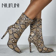 NIUFUNI Women Zipper Boots Snake Print Ankle Boots Thin Heel High Heels Pointed Toe Ladies Sexy Shoes 2019 New Chelsea Boots недорого