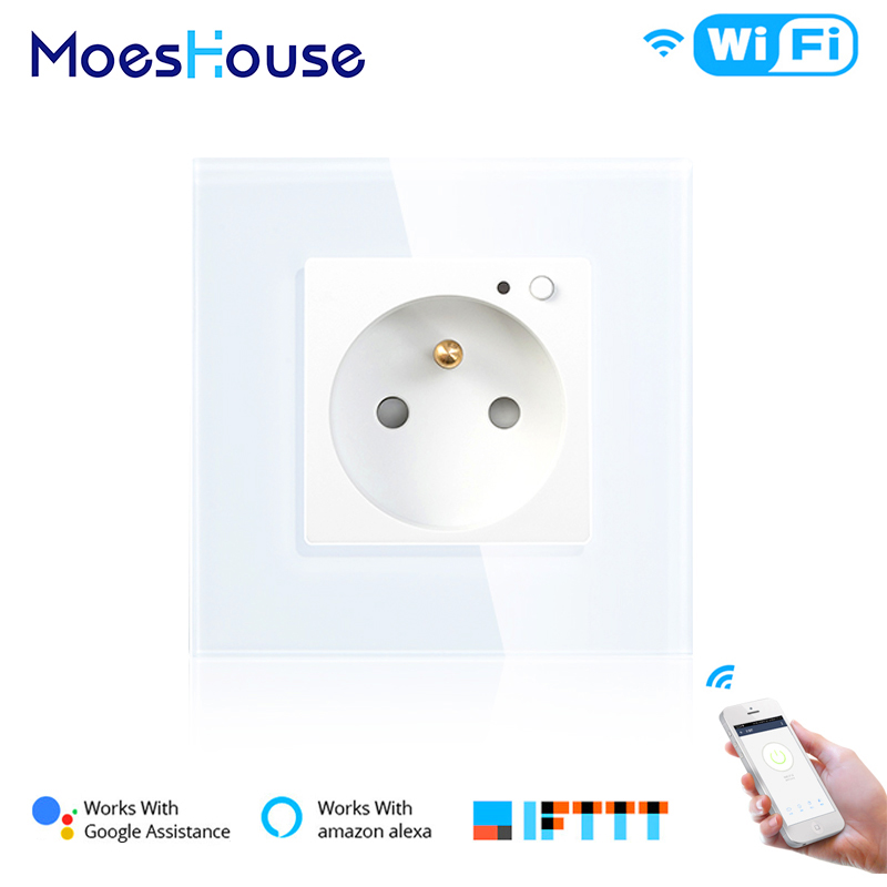 FR WiFi Smart Wall 16A Socket Outlet Glass Panel French Smart Life/Tuya Remote Control,Works With Amazon Echo Alexa Google Home