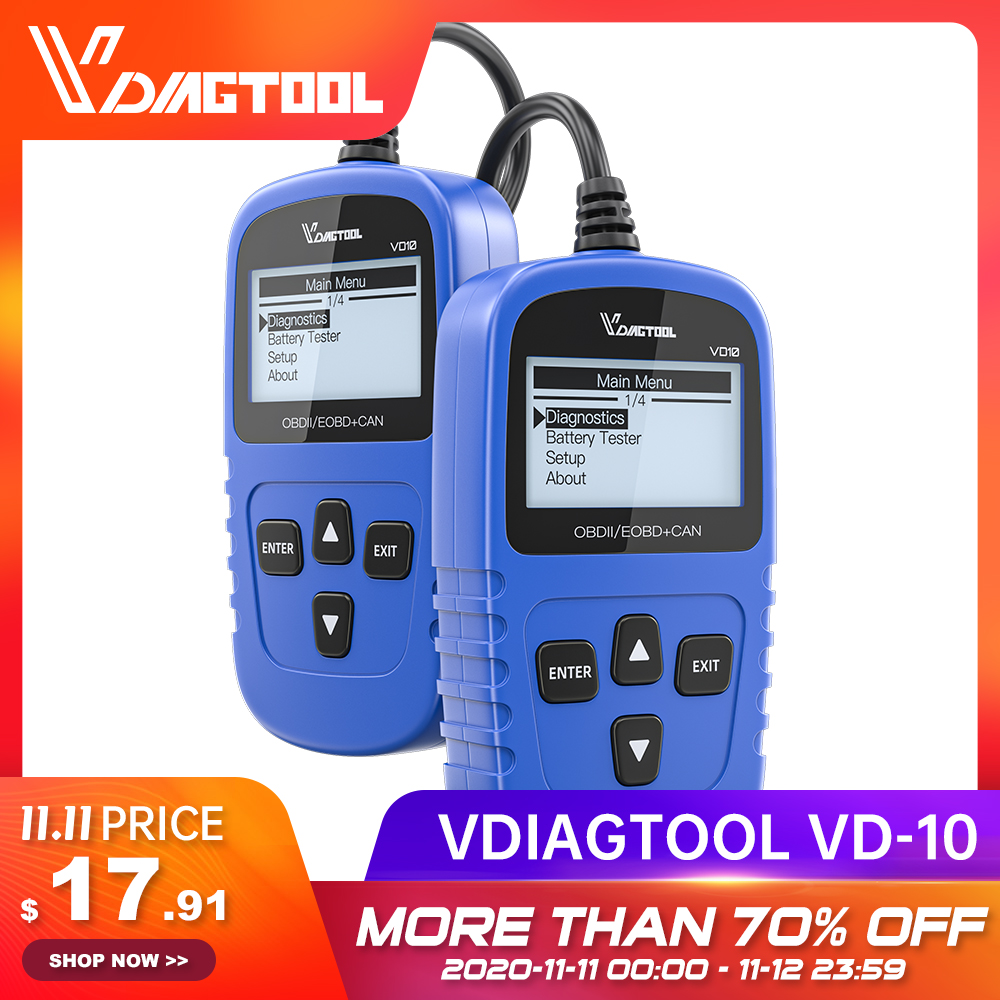 VDIAGTOOL VD10 OBDII OBD2 Code Reader Scanner EOBD Auto Diagnostic Tool Read Fault Code With Multi-language Car Scanner