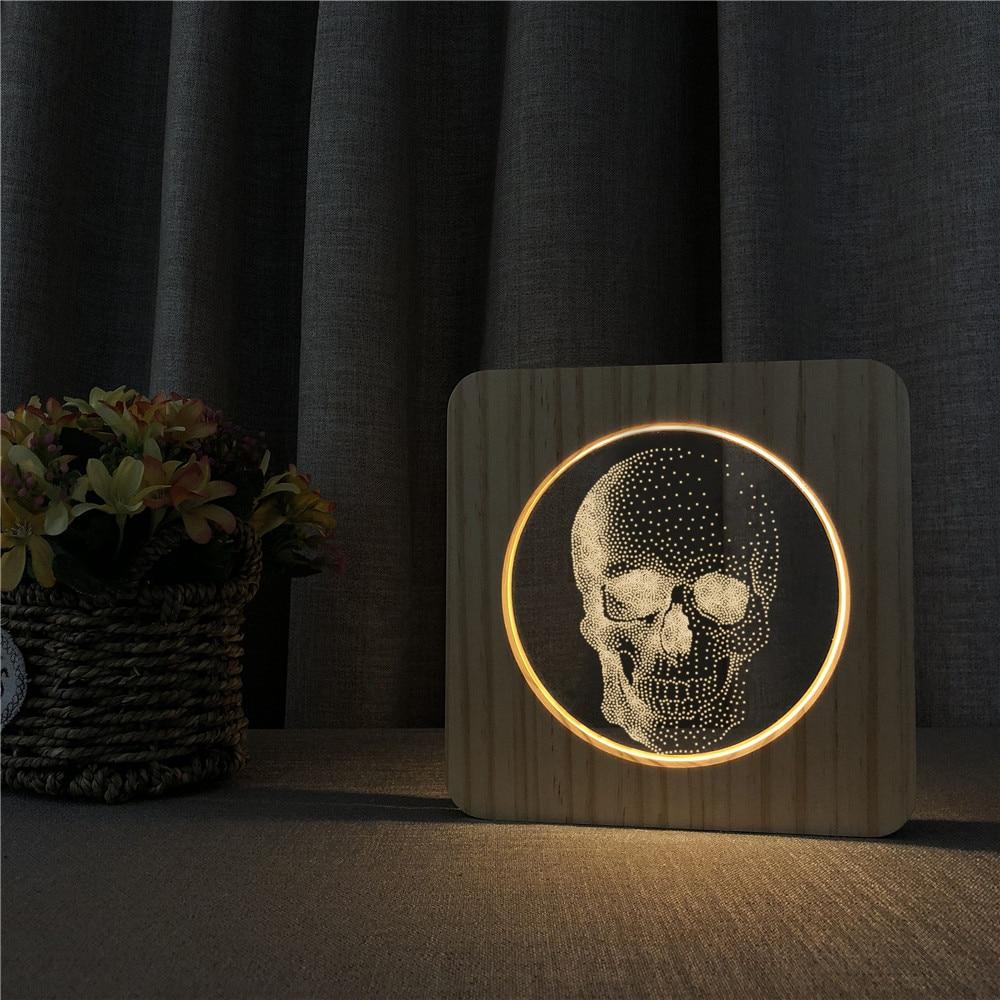 cabeca do cranio arylic 3d usb led noite candeeiro de mesa escultura lampada de controle interruptor
