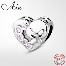 100% 925 Sterling Silver pink CZ Heart shape charms Beads Jewelry Making Fit Original Pandora DIY Bracelet стоимость