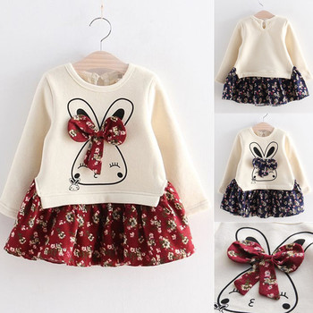1 Year Baby Girl Clothes Cute Rabbit Party Girls Dress Newborn Baby Girls 1st Birthday Outfits Toddler Girls Autumn Clothing 2020 baby clothing newborn baby girls autumn clothes flower lace floral solid dress bodysuit outfits jumpsuits