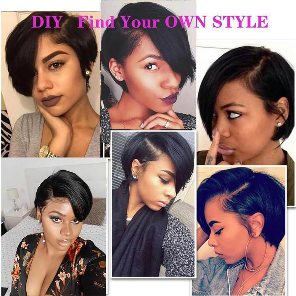 Pixie Cut Bob Lace Front  Wigs Natural Black 13*4 Straight Lace Front Wigs Short  Alilumina 4