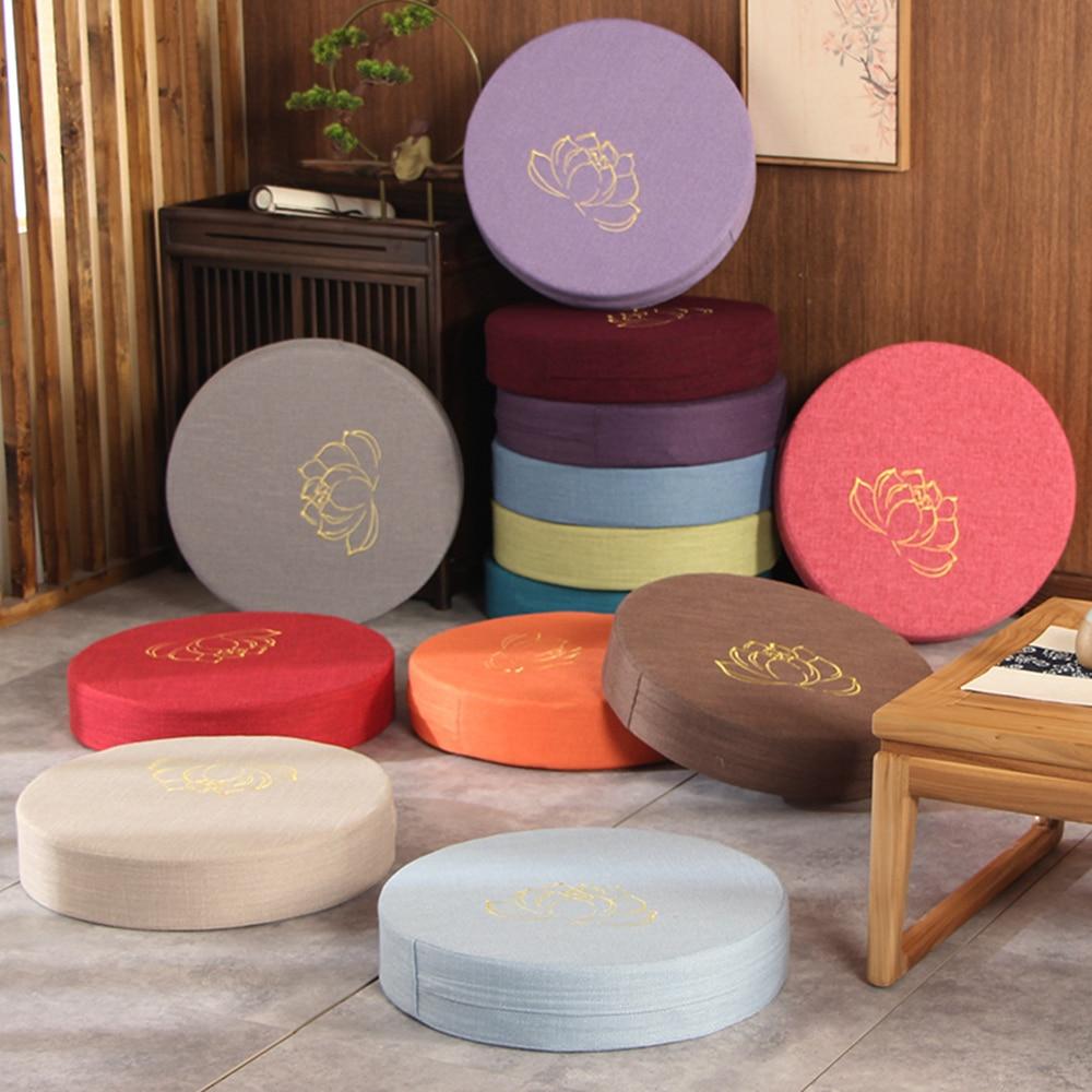 Круглая льняная подушка на сиденье, татами, балкон, эркерное окно, мягкая подушка для медитации, татами-коврик, медитация, лотос