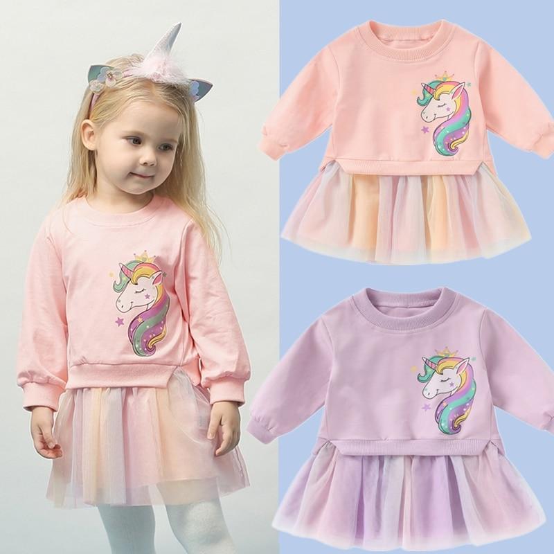 Girls Unicorn Dress Tops + Dress Kids Dresses For Girls Children Clothing Pattern Rainbow Girls Dress Winter Unicornio Vestido 1