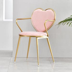 Nordic creative dining chair wrought iron heart-shaped chair nail coffee lounge chair gold simple dressing chair(China)