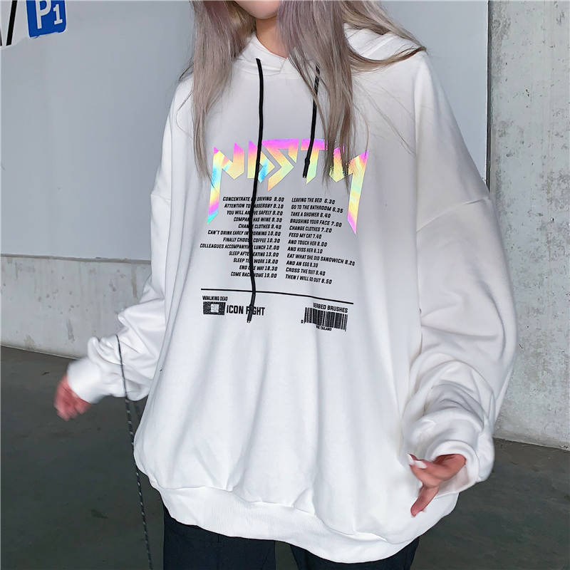 Hoodies Autumn Letter Print Women Reflective Hoodies Sweatshirts Casual Loose Long Sleeve Tracksuit Hoodies Women White Tops