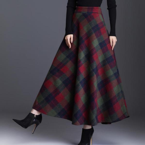 Rok Womens 2020 Herfst Winter Plus Size 3XL Elegante Koreaanse Stijl Plaid Hoge Taille Lange Kleding Verdikking AQ697