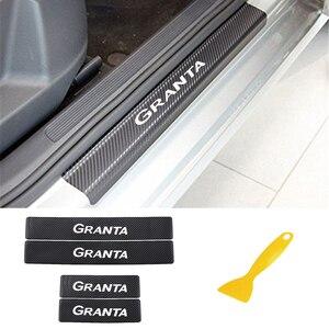 Image 1 - Carbon Faser Auto Aufkleber Für LADA Granta Auto Tür Schwellen verschleiss Willkommen Pedal Schwelle Aufkleber Auto Innen Zubehör
