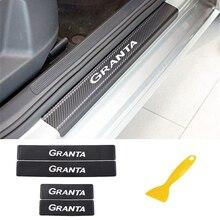 סיבי פחמן רכב אדן מדבקות לlada Granta רכב דלת סיל שפשוף דוושה מוזמן סף מדבקות רכב אביזרי פנים