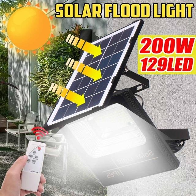 100W 200W Solar Lamp 95/129 Led Floodlight Portable Spotlight floodlight Waterproof Wall Lamp Outdoor Street Garden Light