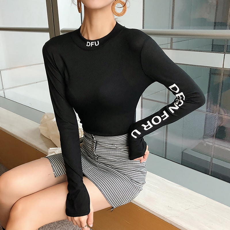 2020 Autumn Winter New Slim Letter Print Women Tops Fashion Chic Round Neck Long Sleeve Pull Over Bottoming Sweater Tops: