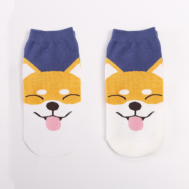 High Quality Women's Lovely Cartoon Shiba Inu Socks Funny Animal Short Socks Japanese Style Ladies Women Cute Cotton Dog Sock