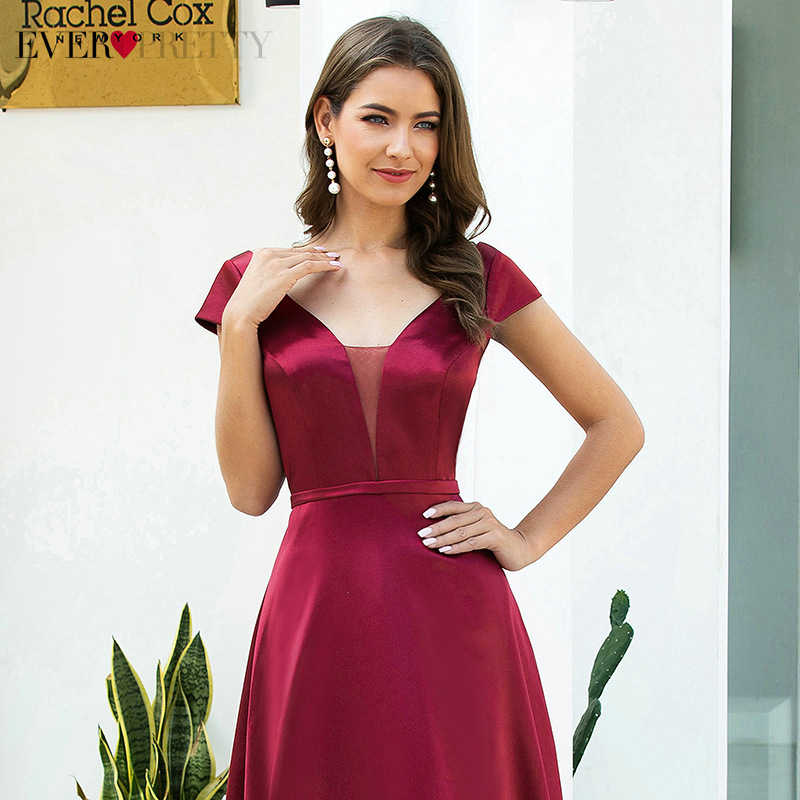 Бордовые Платья Ever Pretty EP00651BD для выпускного бала, элегантные Сатиновые вечерние платья а-силуэта с двойным треугольным вырезом и рукавами-крылышками, Vestido Longo 2020