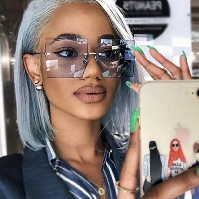 Vintage Square Sunglasses Women Luxury Oversized Rimless Sun Glasses Shades Female Fashion Brand Designer Clear Oculos De Sol