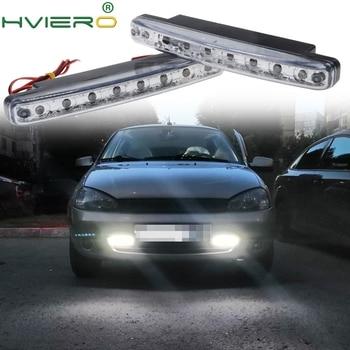 цена на 2X White Auto Led Daytime Running Light 8 LED Daylight Light Auto Waterproof DC 12V Head Lamp HeadLight Parking Bulb Fog Lights