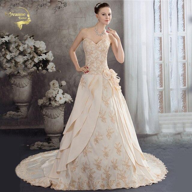 Женское свадебное платье с аппликацией из бисера, атласное ТРАПЕЦИЕВИДНОЕ кружевное платье цвета шампанского с аппликацией, лето 2020