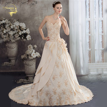 Royal Sweetheart A Line Wedding Dresses 2020 New Beaded Appliqued Lace Champagne Satin Bridal Gown Robe De Mariage Bride Dresses