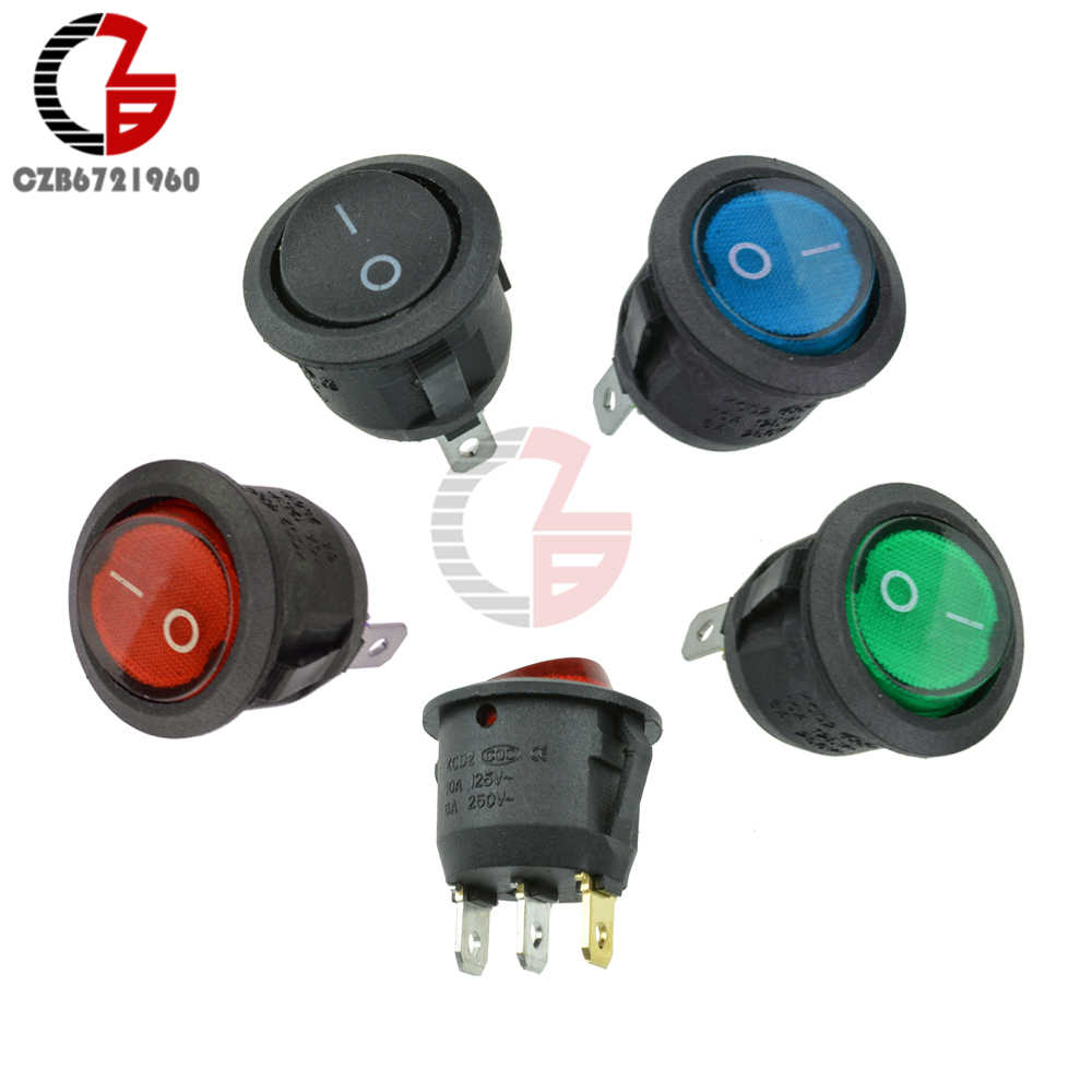 Mini 3Pin Rotondo Interruttore di Pulsante On-Off SPDT Toggle Rocker Switch Red HA CONDOTTO LA Luce Indicatore Incorporato 6A 250V 10A 125V AC
