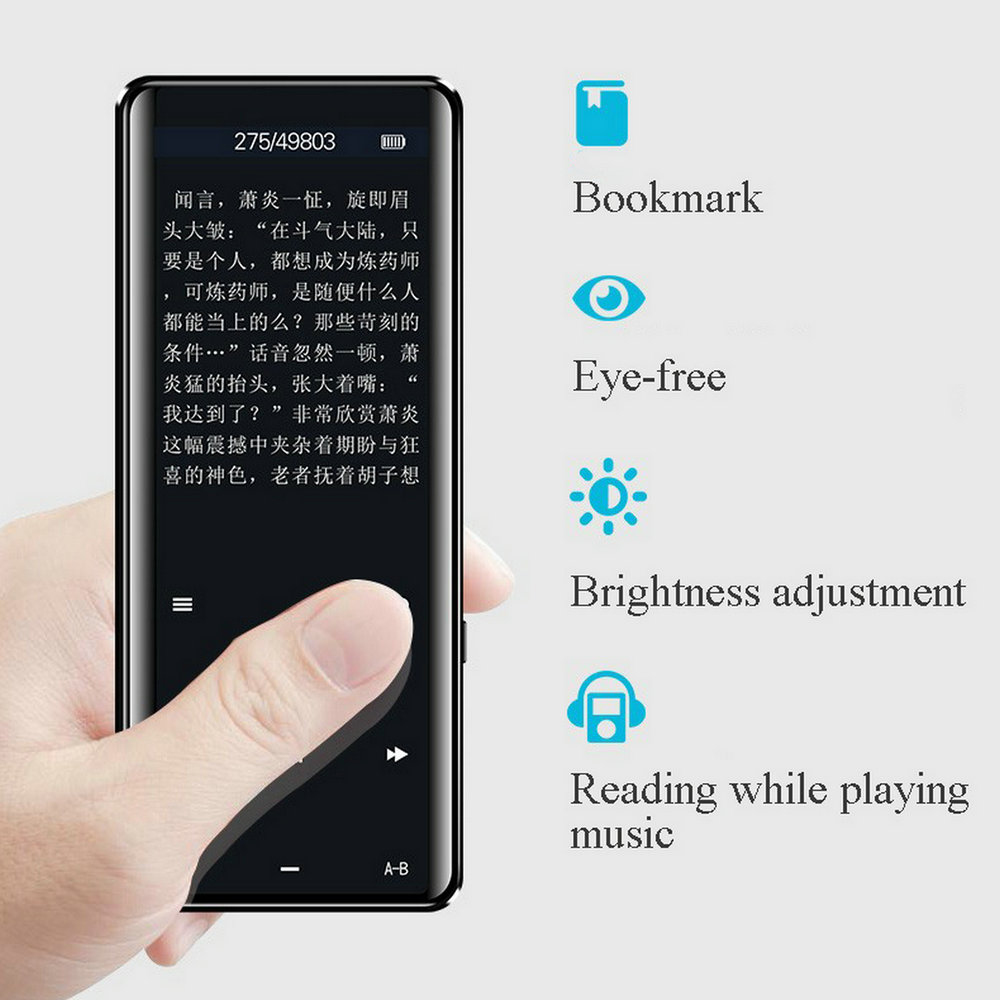 X5 Video <font><b>MP4</b></font> Player Blue tooth Touch Screen HiFi Portable MP3 Walkman with FM Voice Recording image