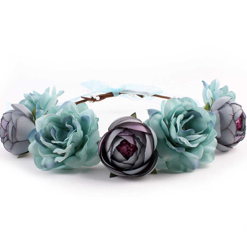 الزفاف الورد الزهور على الرأس بنات زهرة تاج إكليل الزفاف الزفاف إكسسوارات الشعر نابض بالحياة الورد عقال الأزهار زهرة A30