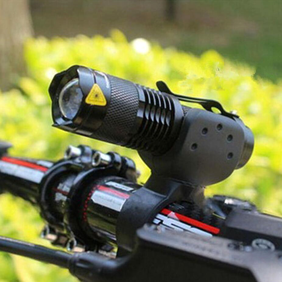 Zoom Bike Torch Flashlight Lamp Led Cycling 3000LM Waterproof Use-14500 Q5 3-Mode 7W title=