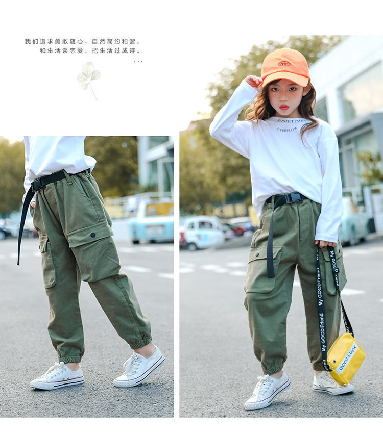 Pants for Kids Girls Cargo Pants Pure Color Cool Trousers Pocket Loose Sport Pant High Waist Elastic Baby Girl Teen 5-14 Years Children Cotton Casual Running Pants Clothing
