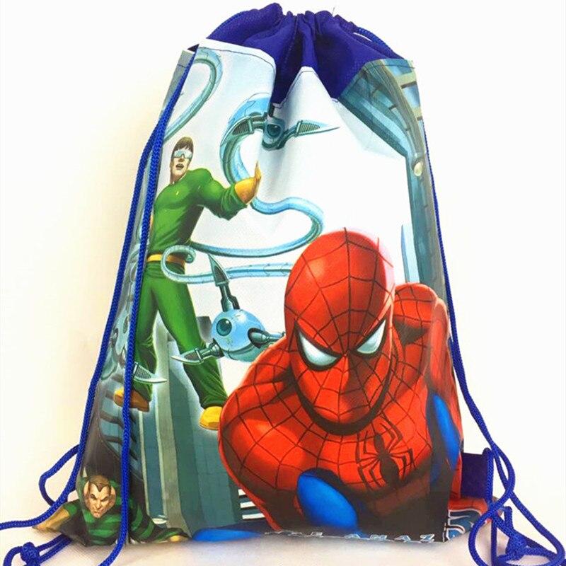 LISM 1pcs/lot Spiderman Cartoon New Backpack Non-woven Fabrics Back Pack Drawstring Batman Bags Spider Man Children School Bag