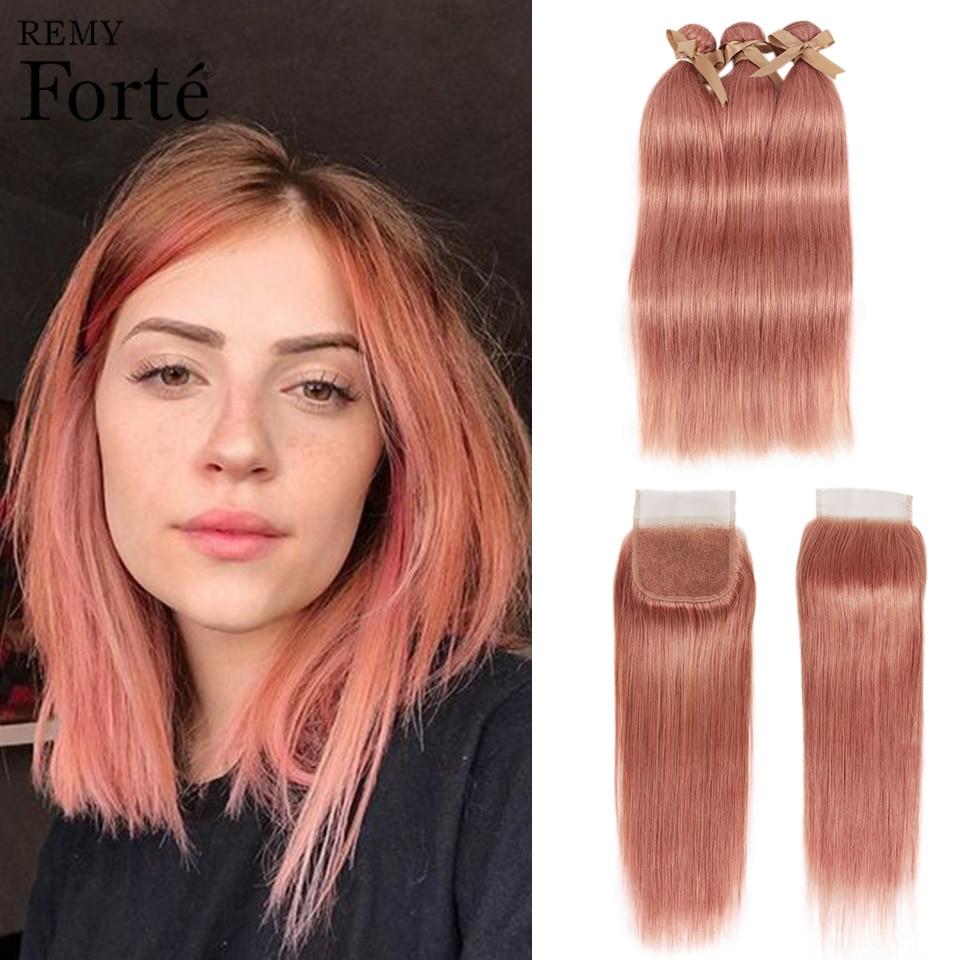 Remy Forte Straight Hair Bundles With Closure Blonde Bundles With Closure Brazilian Hair Weave Bundles 3/4 Pink Hair Bundles