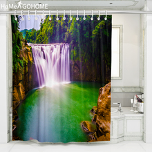 Purple Waterfall Scenery Shower Curtains for Bathroom Polyester Fabric Curtain 3D Printed Beach