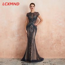 Black Mermaid Luxury Beaded Formal Evening Dress Long Cap Sleeve High Neck Prom Party Dress Vestido de Festa Robe Evening Gown(China)