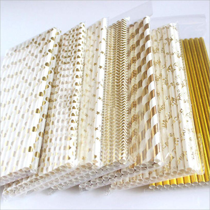 25Pcs Metallic Gold Stripe Paper Straws Coated Gold Foil Disposable Paper Straws Various Types Gold Foil Degradable Paper Straws