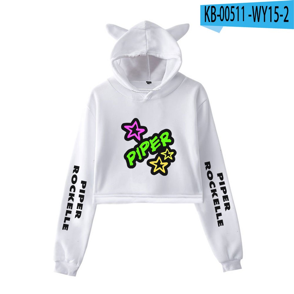 2020 Piper Rockelle Merch Women Cat Ear Sweatshirt Popular Casual Streetwear Harajuku Piper Rockelle Cool Print Hoodies 30