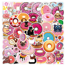 50 Pcs No Repetition Waterproof Small Fresh Donuts Gourmet Small Animal Graffiti Stickers Notebook Luggage Water Cup Sticker