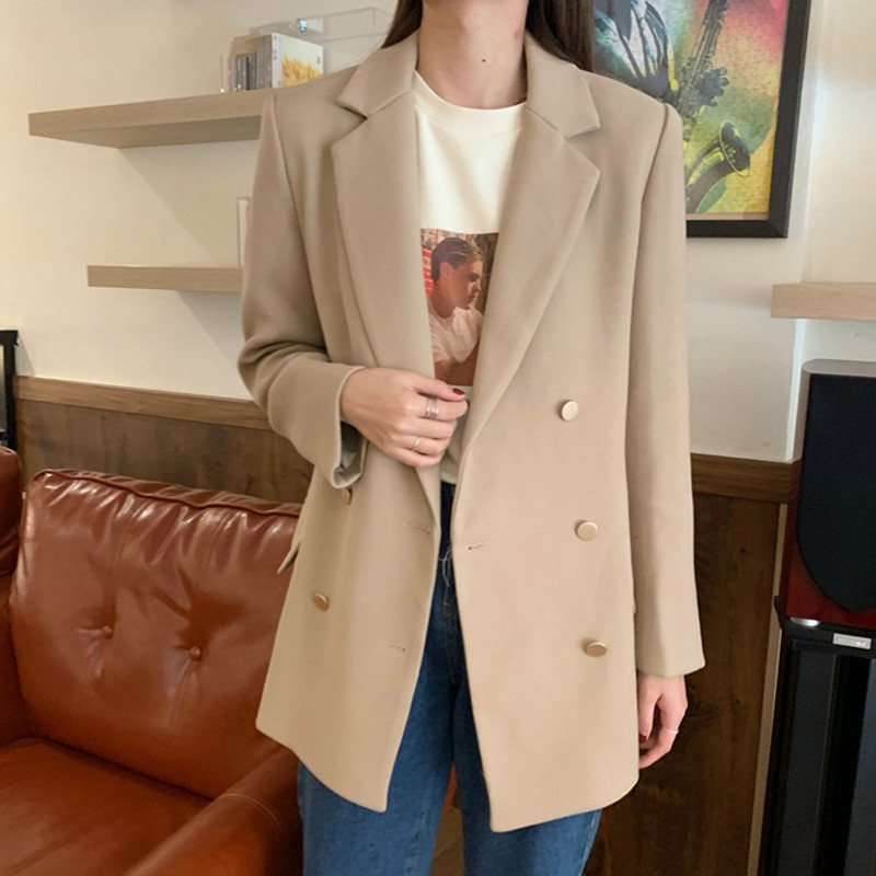 Drop Shipping Notched Collar Double-breasted Women Suit Jackets Spring Long Sleeve Pockets Casual Female Blazers Ladies Tops