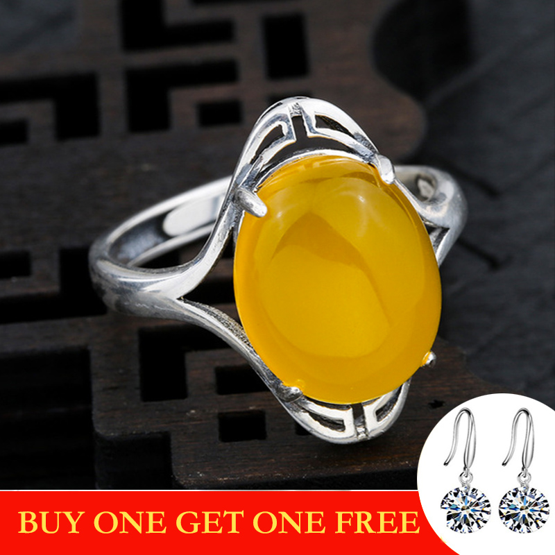 10*14mm NOT FAKE S925 Sterling Silver Ukraine Amber Rings Exaggerated Rings Health Rich Lithuania Retro Chalcedony