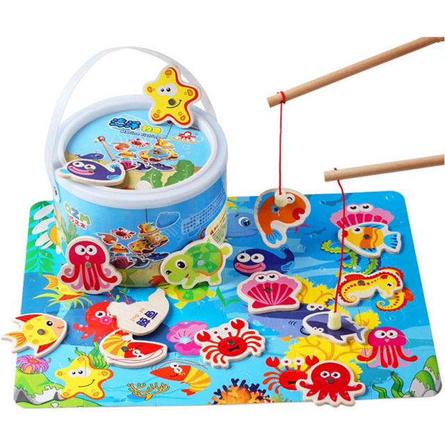 Hot Sale Toddler Baby Educational Puzzle Toy Fish Children Wooden Magnetic Fishing Game Toys Set for Kids 14Pcs with Gifts Box