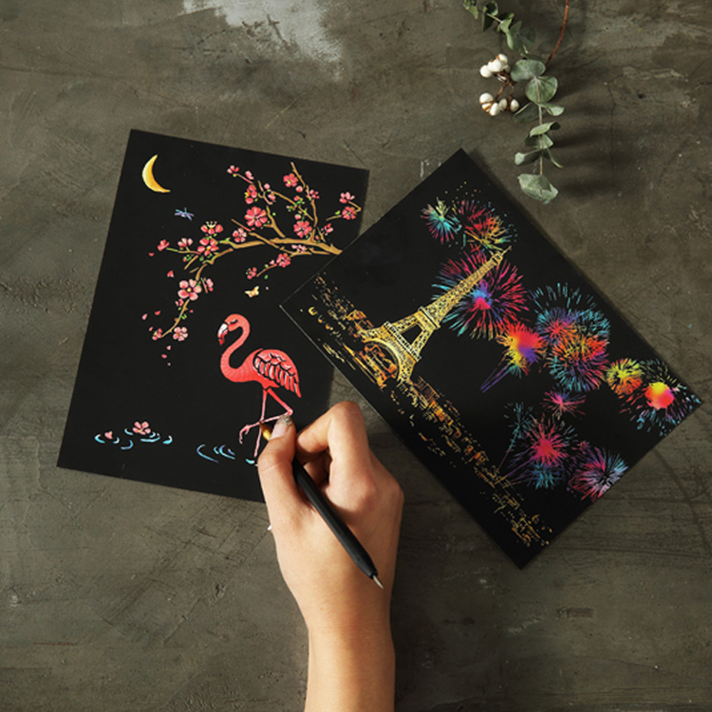 4pcs DIY Drawing Painting Rainbow Scratch Art Mini Notes With Stylus Scraping Drawing Toys Arts And Crafts For Children