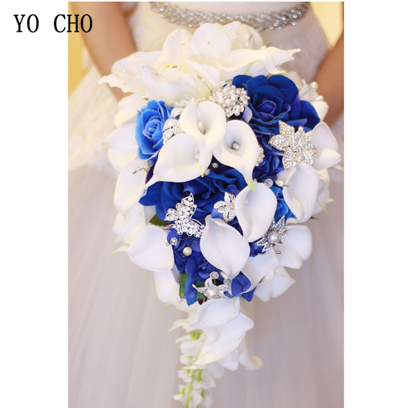 YO CHO Bride Wedding Bouquet Waterfall Wedding Flower Artificial Silk Rose Calla Lily Pink Fake Diamond Pearl Luxurious Bouquets