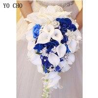 YO CHO Bride Wedding Bouquet Waterfall Wedding Flower Artificial Silk Rose Calla Lily Pink Fake Diamond Pearl Luxurious Bouquets