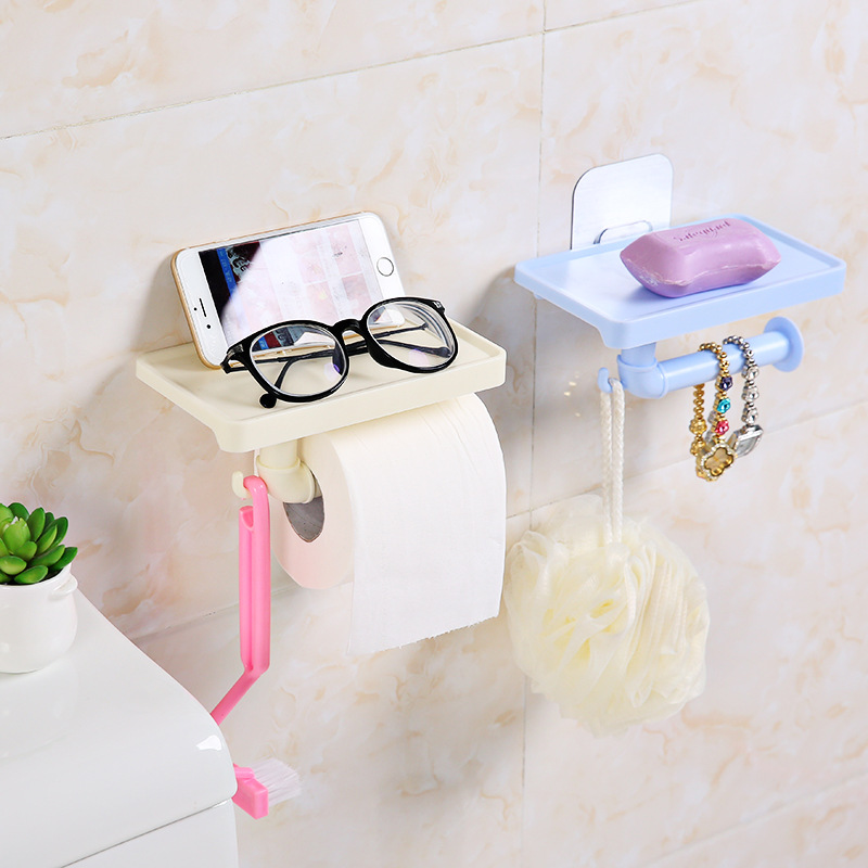 Wall Mount Toilet Paper Holder Shelf Plastic Toilet Roll Paper Tray Tissue Box Rack Phone Holder Bathroom Storage Box Organizer