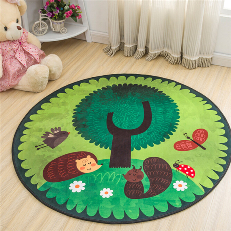 Play Mat Round Elephant Seagull Deer Print Crawling Blanket Infant Game Pad Play Rug Floor Carpet Baby Gym Activity Room Decor