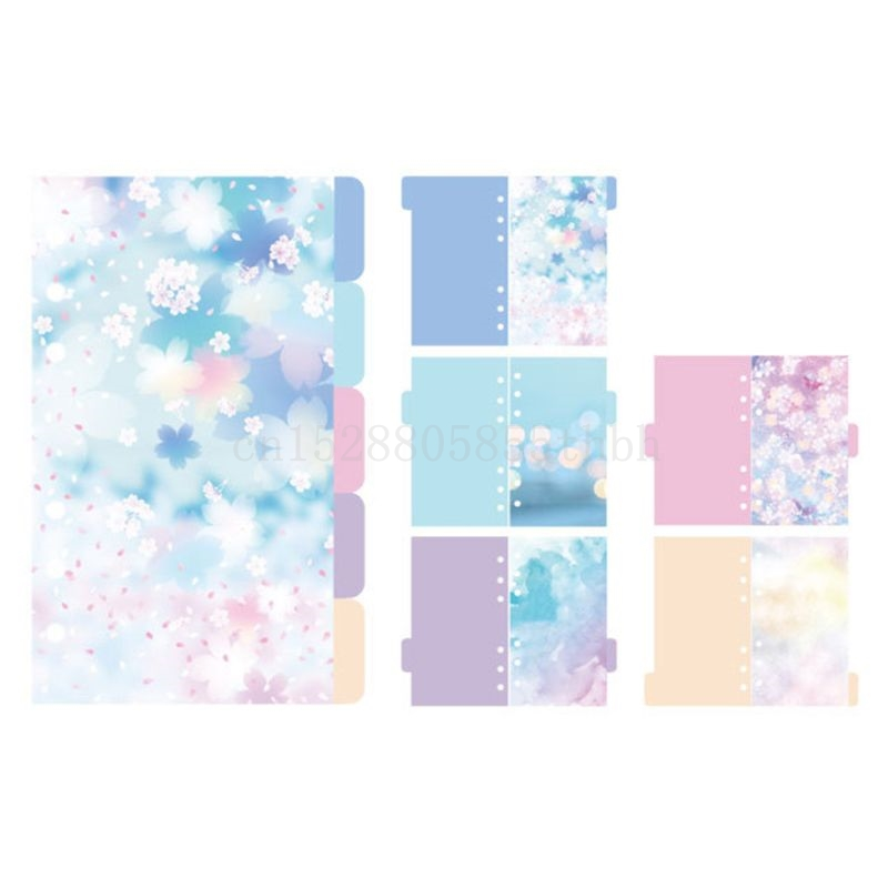 1Set Cherry Blossoms Style A5 A6 Loose Leaf Notebook Divider Index Separator Diary Paper Planner Binders School Students Supplie
